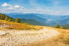 Strada della ghiaia attraverso il prato della montagna immagine stock libera da diritti