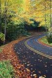 Strada della montagna del paese circondata dagli alberi variopinti di autunno Fotografia Stock