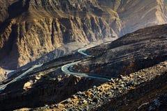 Strada della montagna di Jabal Jais al tramonto Il più alta montagna in Fotografie Stock