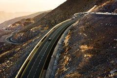 Strada della montagna di Jabal Jais al tramonto Il più alta montagna in Immagine Stock