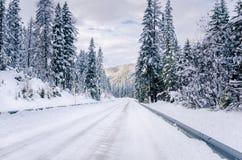 Strada della montagna di Snowy nelle alpi europee Fotografie Stock Libere da Diritti