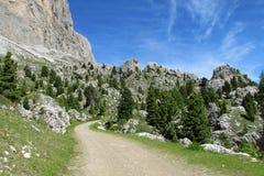 Strada della montagna di Unparved in valle verde Immagine Stock