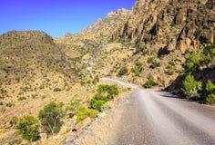 Strada della montagna nell'Oman Fotografia Stock