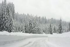Strada della montagna nella bufera di neve Fotografie Stock