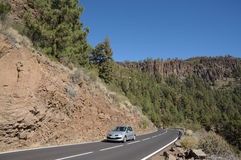 Strada della montagna nella sosta nazionale di EL Teide, Tenerife Immagine Stock