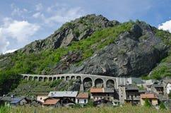 Strada della montagna nella valle d'Aosta Fotografie Stock