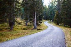 Strada della montagna nelle dolomia delle montagne Fotografie Stock