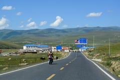 Strada della montagna in Sichuan, Cina Fotografia Stock Libera da Diritti