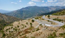 Strada della montagna, Sicilia, Italia Fotografie Stock Libere da Diritti