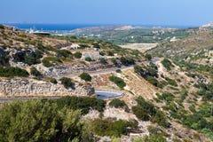 Strada della montagna sull'isola di Crete Immagini Stock Libere da Diritti