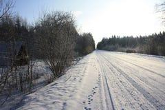 Strada della neve Immagini Stock Libere da Diritti