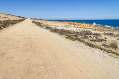 Strada della sabbia nella spiaggia in Almograve Fotografie Stock Libere da Diritti
