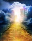 Strada desolata alla città magica Fotografia Stock Libera da Diritti