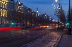 Strada di Andrassy all'alba Immagini Stock