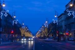 Strada di Andrassy all'alba Immagine Stock