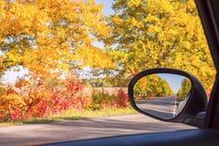 Strada di autunno con gli alberi luminosi variopinti e uno specchio di automobile con le riflessioni della strada Immagini Stock