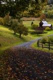 Strada di bobina e granaio ad un'azienda agricola - autunno/caduta - Woodstock, Vermont Immagini Stock