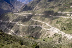 Strada di bobina nel Tibet Immagine Stock