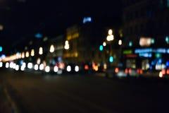Strada di città di notte Fotografia Stock