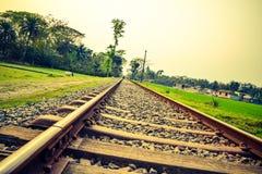 Strada di ferrovia lunga Immagini Stock