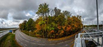 Strada di Forest Autumn Fotografia Stock