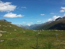 Strada di Furka, alpi svizzere Fotografie Stock