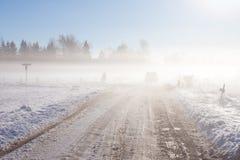 Strada di inverno con l'automobile fuori strada Fotografie Stock
