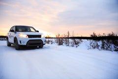 Strada di inverno del paese Immagine Stock
