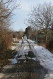 Strada di inverno del villaggio Fotografie Stock Libere da Diritti