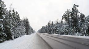 Strada di inverno di Snowy Fotografie Stock Libere da Diritti