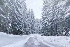 Strada di inverno di Snowy in Julian Alps Immagini Stock