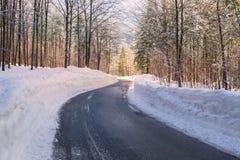 Strada di inverno di Snowy in Julian Alps Fotografia Stock