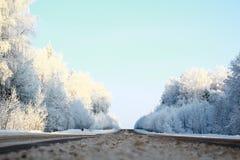 Strada di inverno La strada nel ghiaccio Fotografia Stock