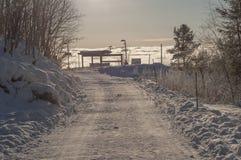 Strada di inverno in Norvegia Immagini Stock Libere da Diritti