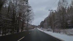 Strada di inverno in repubblica Ceca stock footage