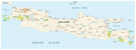 Strada di Java e mappa del parco nazionale, Indonesia illustrazione vettoriale