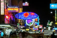 Strada di Khao San a Bangkok Fotografia Stock Libera da Diritti