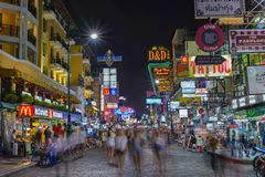 Strada di Khao San, Bangkok, Tailandia Fotografia Stock Libera da Diritti