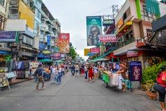 Strada di Khao San a Bangkok, Tailandia Fotografie Stock