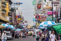 Strada di Khoa san, Bangkok Tailandia Immagine Stock