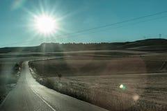 Strada di Loneley in Spagna vicino a Madrid Fotografia Stock Libera da Diritti