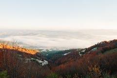 Strada di paesaggio sulle montagne di autunno e sugli alberi sempreverdi immagini stock