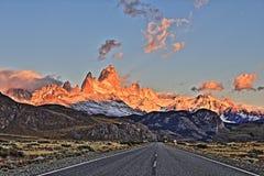 Strada di Patagonia di HDR ad alba Fotografia Stock