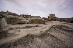 Strada di pietra scolpita al uplistsikhe antico della basilica immagine stock libera da diritti