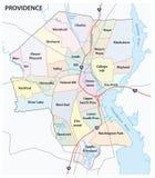 Strada di provvidenza e mappa della vicinanza Fotografia Stock Libera da Diritti