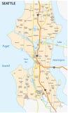 Strada di Seattle e mappa della vicinanza Fotografia Stock Libera da Diritti