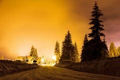 Strada di Snowy Immagine Stock