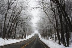 Strada di Snowy nell'inverno Fotografie Stock Libere da Diritti