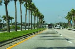 Strada di tramonto in Florida Immagine Stock