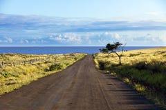 Strada diritta della ghiaia nell'isola di pasqua Fotografia Stock